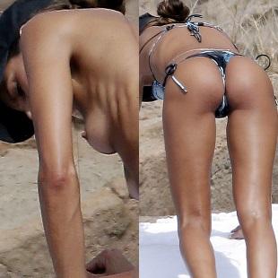 Izabel Goulart Topless On A Nude Beach