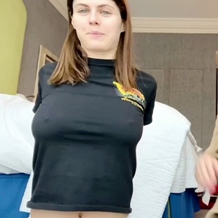 Alexandra Daddario Braless Pressing Her Tits Forward