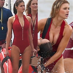 """Alexandra Daddario And Kelly Rohrbach Flaunt Their Tits And Ass On """"Baywatch"""" Set"""