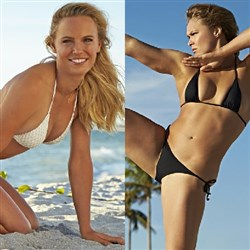 Caroline Wozniacki Battles Ronda Rousey In The 2015 Sports Illustrated Swimsuit Issue
