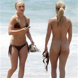 Hayden Panettiere Strips Naked At The Beach