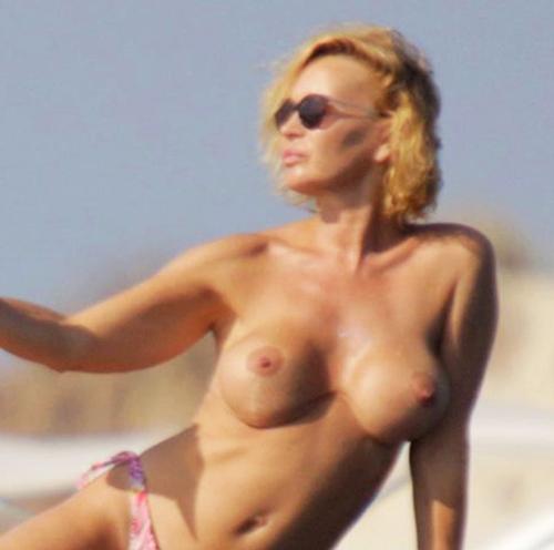 Old TV Host Marlene Mourreau Nude Tits On The Yacht