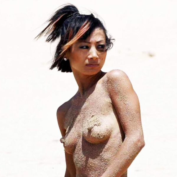 Actress Bai Ling Flashes her Nipples on the Beach in Hawaii