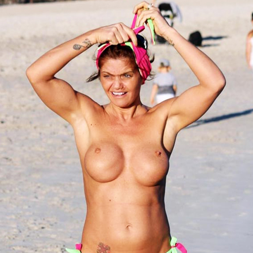 Danniella Westbrook Flashes Plastic Nude Tits On The Beach !