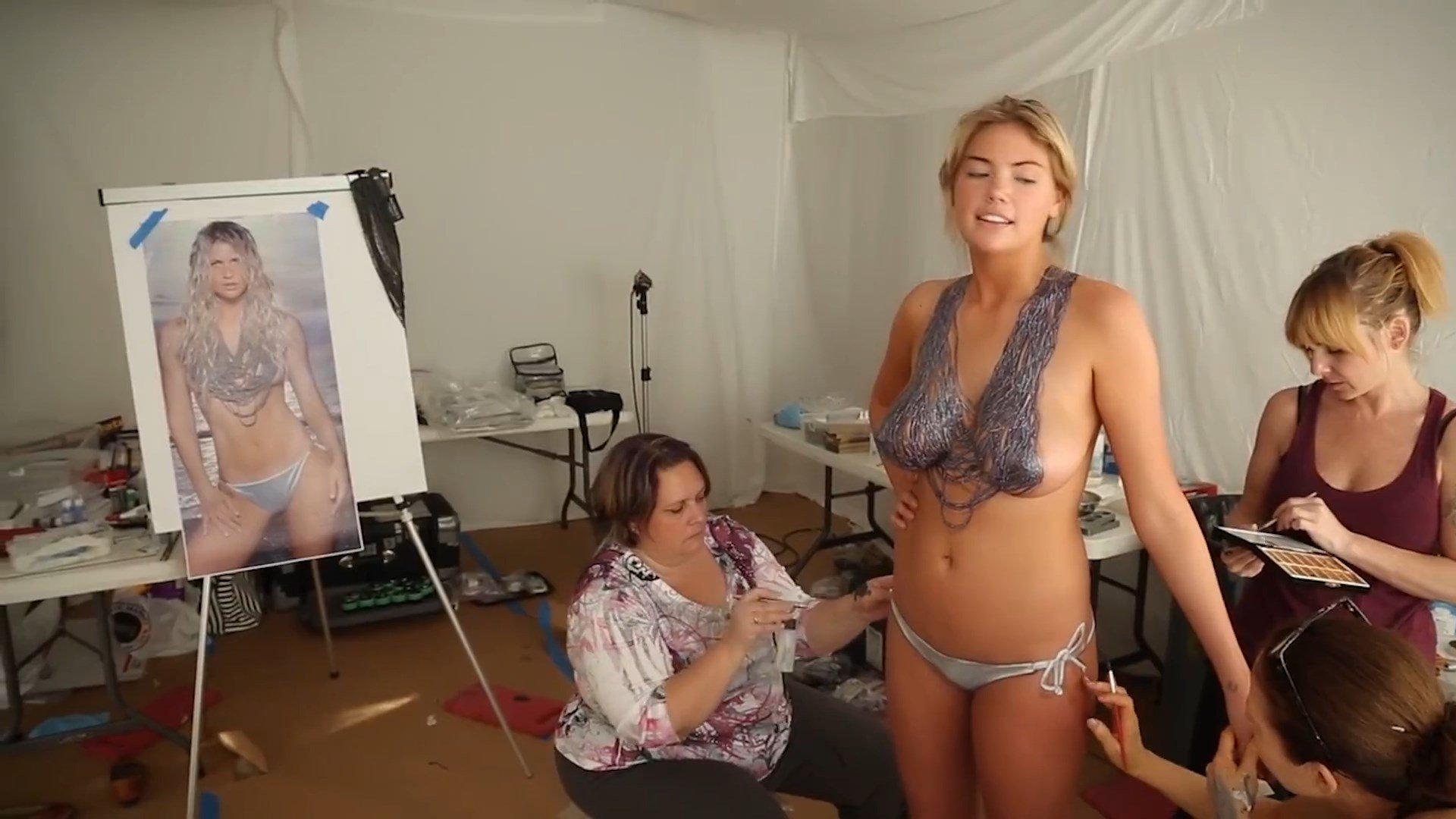 Kate Upton Nude Body Paint (8 Photos & Gifs)