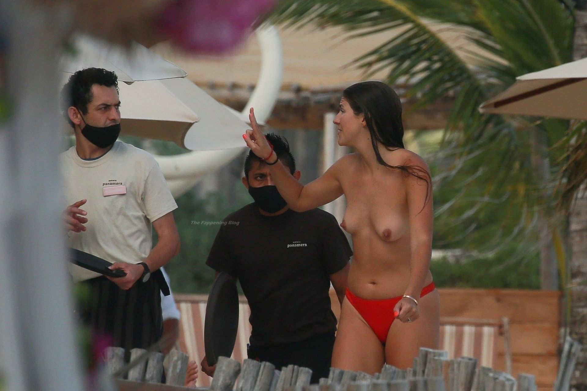 Lucy Aragon Shows Off Her Boobs on a Beach in Mexico